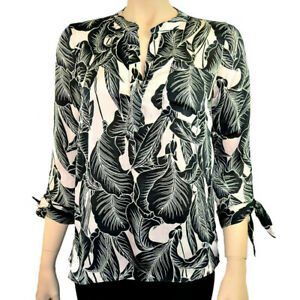 Ex-Debenhams-Noir-Rose-Floral-Leaf-Print-Blouse-Top-Tailles-8-To-26