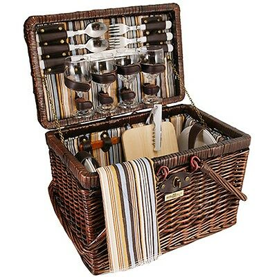 Wicker Picnic Basket Set For 4 Brown 28 pcs  Wine Glasses Vintage Styling  New