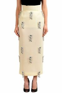 Maison-Margiela-Cream-White-Women-039-s-Brooches-Decorated-Pencil-Skirt-Sz-XS-S