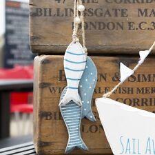 Sass & Belle in Legno da Appendere Pesce Rustico Blu NAUTICHE MARE Home Decoration