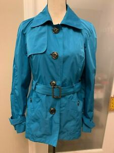 Talbots-Women-039-s-Ocean-Blue-Belted-Button-Up-Lightweight-Rain-Jacket-Size-S