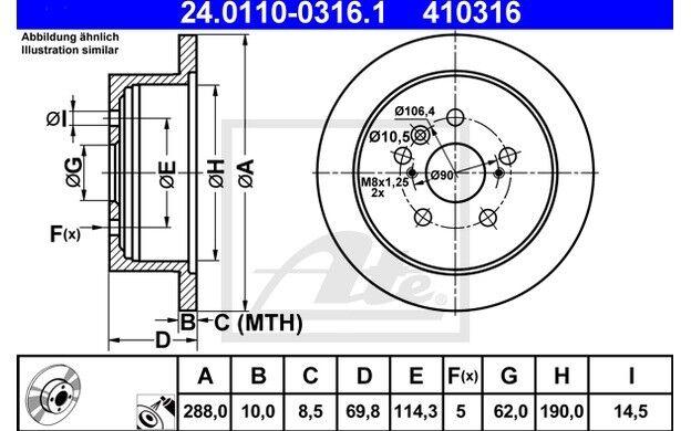 ATE Juego de 2 discos freno 288mm para LEXUS RX 24.0110-0316.1