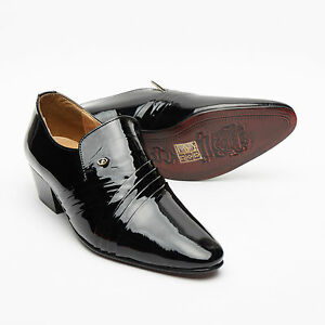 Formal Mens Cuban Heels Cross Leather Slip On Wedding Shoes Black