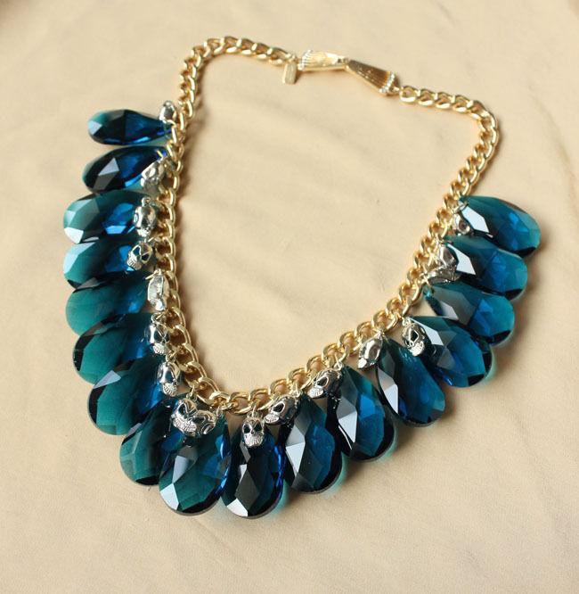 Halskette Frau Schädel silver Glas Tropf blue Original Abend Ehe JCR 13