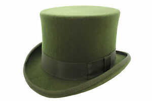 100% Wool High Quality Olive Green Wedding Event Top Hat With ... c2062224ac2