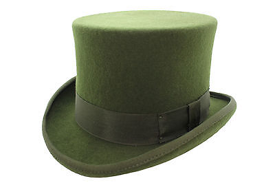 100% Wool High Quality Olive Green Wedding Event Top Hat With Satin Lining