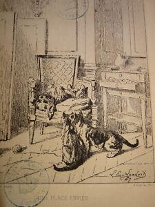Eugene-LAMBERT-1825-1900-GRAVURE-EAU-FORTE-CHATS-CHIEN-ANIMAUX-INTERIEUR-1867