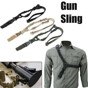 Adjustable-Tactical-One-Single-Point-Sling-Strap-Bungee-Rifle-Sling-w-QD-Buckle