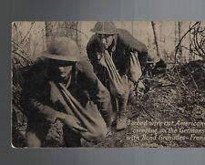 Barbed Wire Cut Americans Creeping on Germans w Hand Grenades Postcard