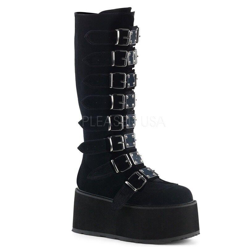 Demonia Plateau Stiefel DAMNED-318 black samt