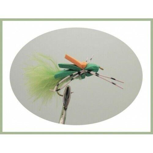 Foam Bug Trout or Carp Flies 4 x Green Marabou Foam Bug Size 8 Fishing Flies
