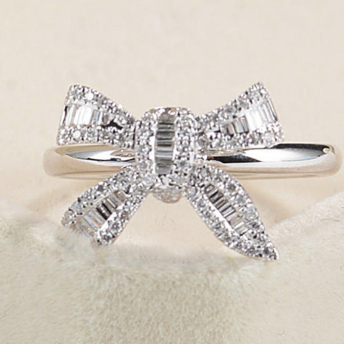 14k White gold 0.25 Ct Baguette & Round Cut Diamond Engagement Bow Ring