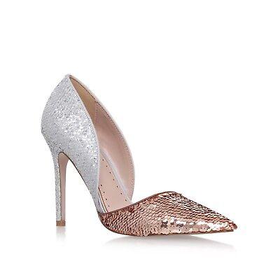 Kurt Geiger Talla 7/40 Miss KG de Plata y Rosa oro lentejuelas Tribunal Zapatos Rrp £ 99