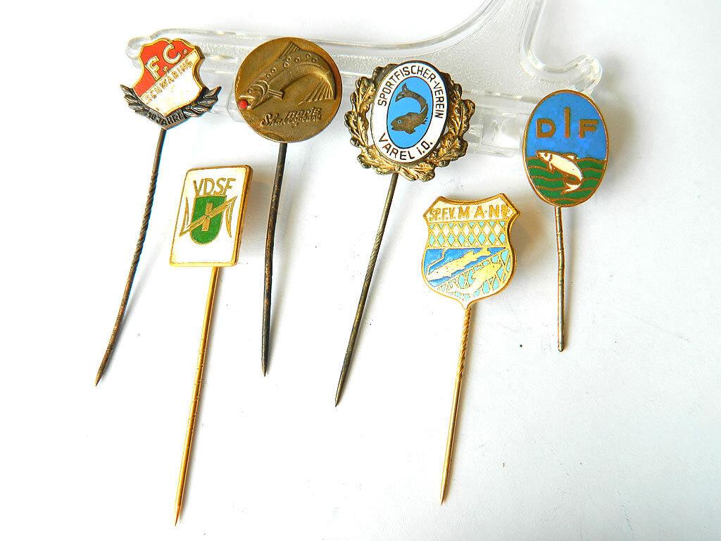 6x Enamelled Vintage Lapel PINS SPORT FISHING Fan Events,  Germany 1950s  top brand