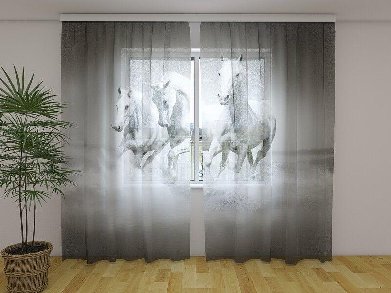 Foto visillos de gasa  blancoos caballos  cortina con motivo, impresión fotográfica, a medida