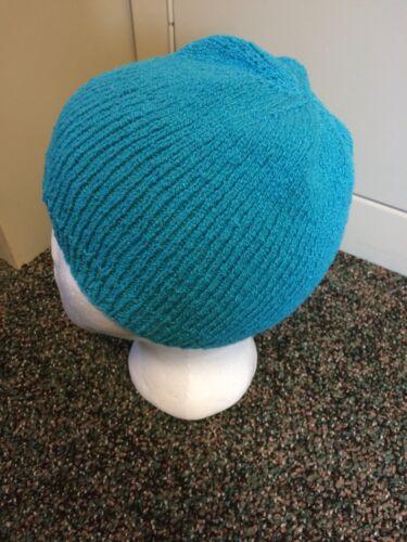 *Hand Knit Cotton Chemo Sleep Hats Teal NWOT