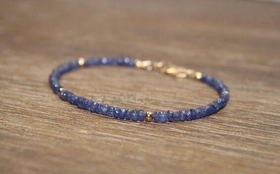 Natural Azul Zafiro Facetado Piedras Brazalete con Cuentas 925 Plata & Cierre