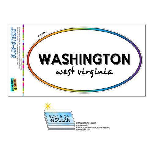 Rainbow Euro Oval Window Laminated Sticker West Virginia WV City State Rom Wil