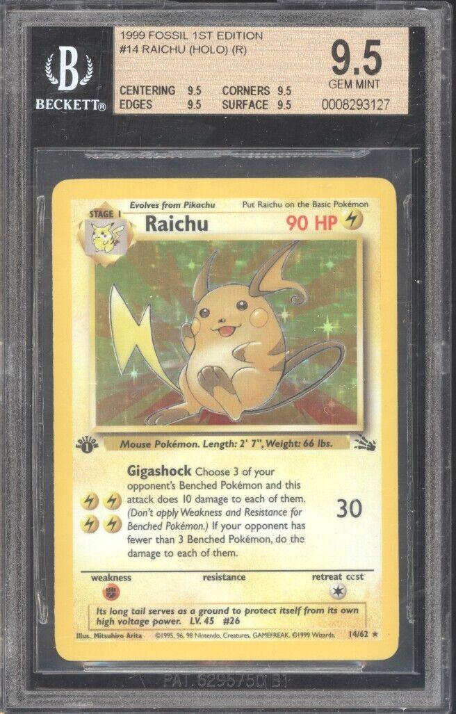 1999 Pokemon 1ST EDITION  Raichu   62 62 62 BGS 9.5 GEM MINT  EXTREMELY RARE  782c75