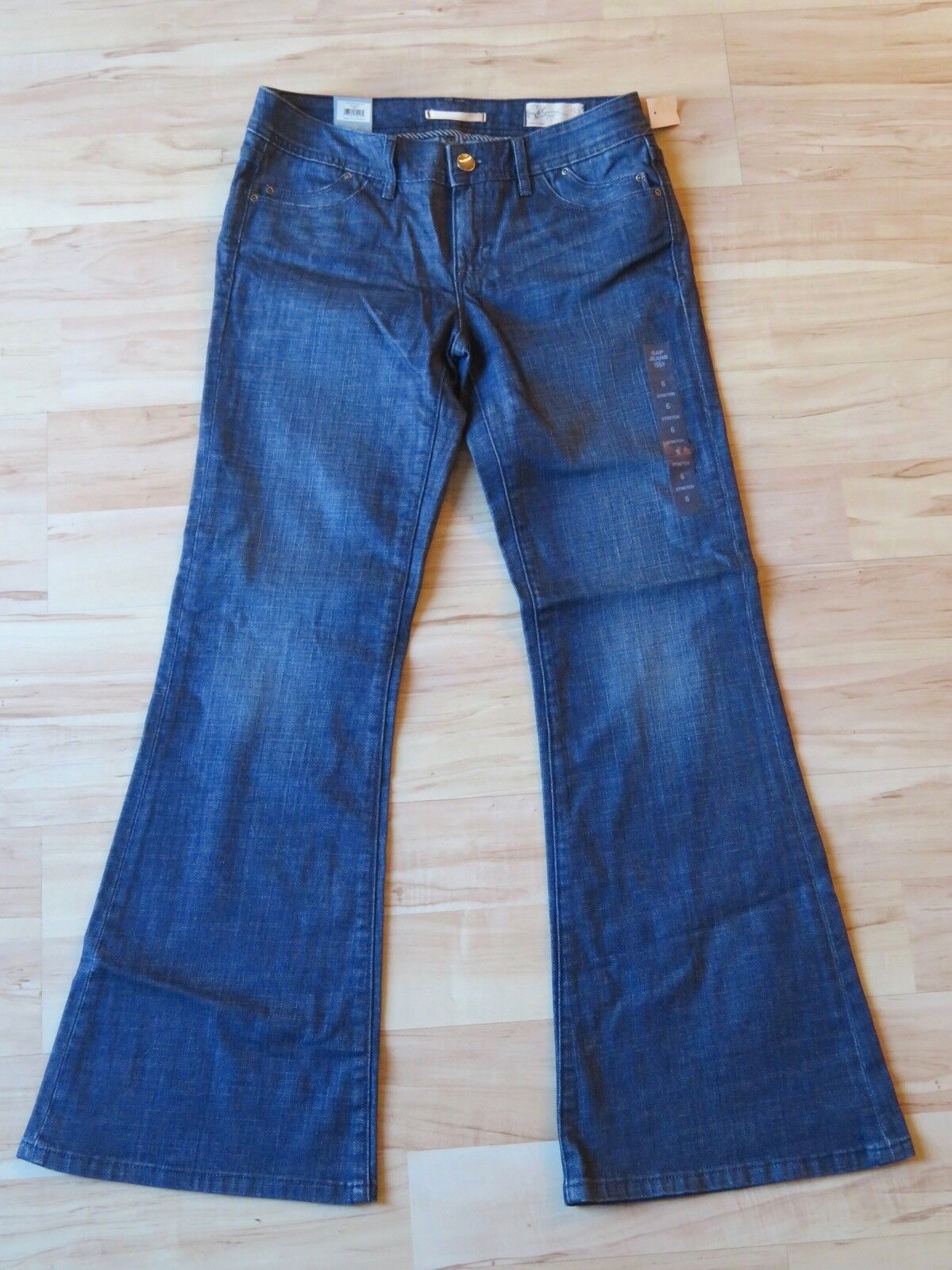 New Women's Gap Stretch Limited Edition Denim Pants bluee Jeans Flared Leg Size 6