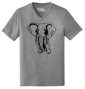 Mens-Elephant-Triblend-V-Neck-Animal-Graphic