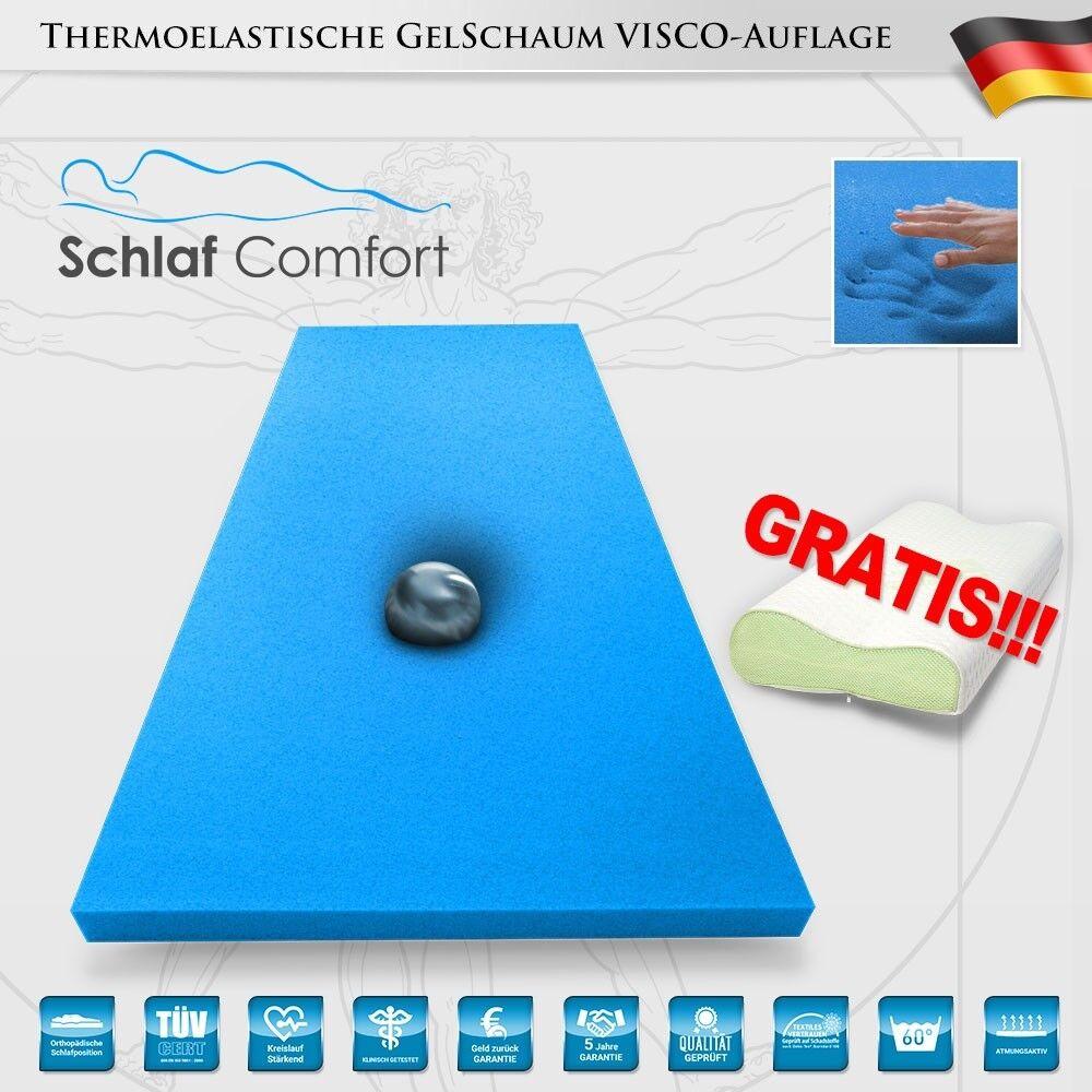 Viscoelastische Matratzenauflage GEL-TOUCH-Blau®  Topper 120x200x7cm +1 Kissen