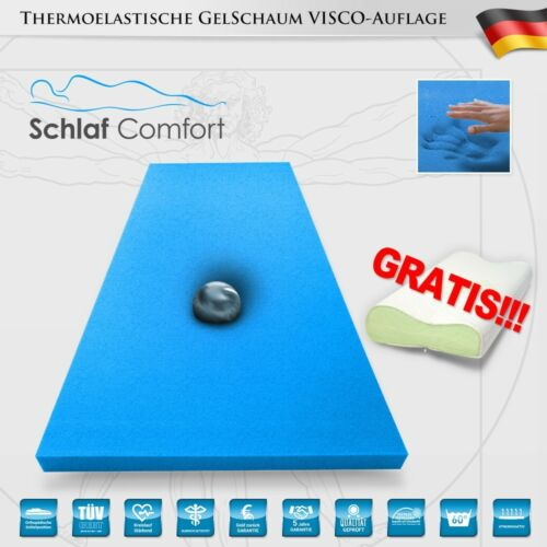 GEL-TOUCH-BLUE® Matratzenauflage Gelschaum Topper//Auflage 180x200x12cm 1Kissen
