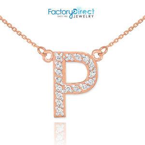 14k rose gold letter p diamond initial necklace ebay image is loading 14k rose gold letter 034 p 034 diamond aloadofball Images