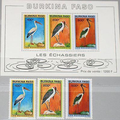 Burkina Faso 1993 1284-86 Block 138 959-61a Birds Vögel Fauna Störche Ibis Mnh Moderne Techniken Burkina Faso