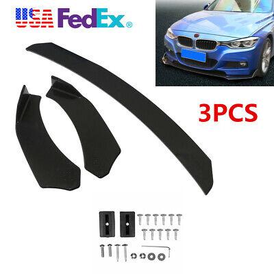 Universal Front Bumper Lip Splitter Chin Spoiler Body Kit Wing For Benz BMW 3pcs