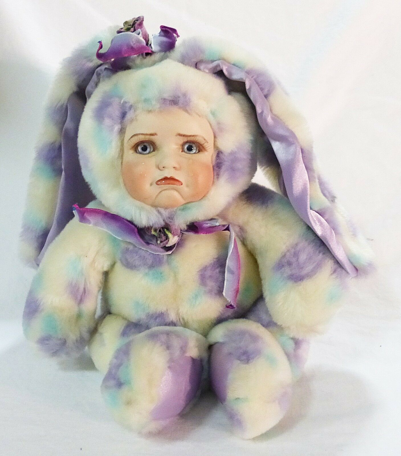 Vintage Porzellan Plüsch Bunte Häschen Kid Face von Aurora