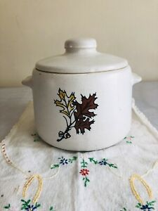 WestBend Bean Pot Crock Cookie Jar w lid 2 Qt  FALL LEAVES Stoneware Vintage