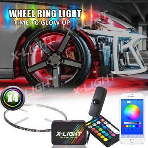 LED Wheel light RGB-W brightest rim Light Bluetooth Remote Control w Brake Mode