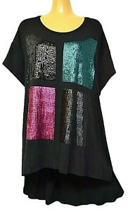 TS-top-TAKING-SHAPE-VIRTU-plus-sz-XL-24-Wild-Sequins-Top-stretch-tee-party-NWT