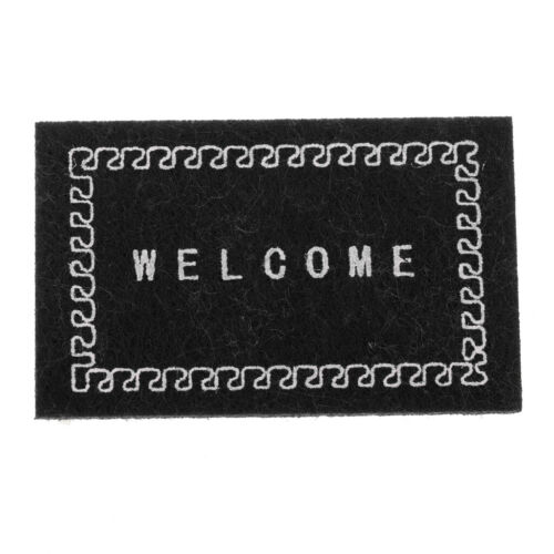1//12 Floor Covering Rug Carpet Welcome Mat Dollhouse Front Door Decor Black