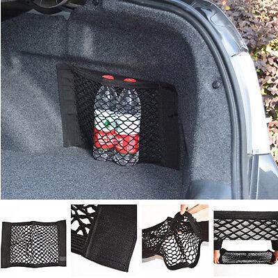 Black Car Rear Trunk Seat Back Storage Magic Tape Net String Nylon Resilient Bag