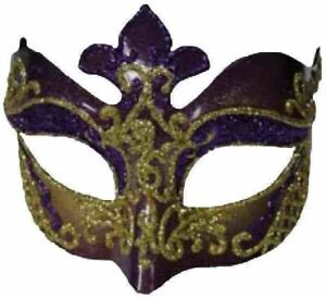 Venetian-Masquerade-Mardi-Gras-Fancy-Eye-Half-Purple-Gold-Glitter-Glasses-Mask