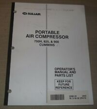 Sullair 750h 825 900 Cummins Air Compressor Parts Operation Maintenance Manual