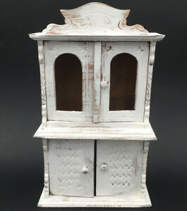 Ancien Meuble Buffet De Maison De Poupee Bois Peint Patine Blanc Doll Furniture Ebay