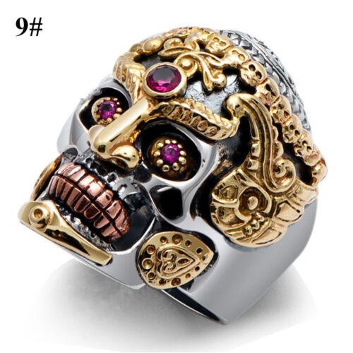 Stainless Steel Gothic Punk Skull Ring Crystal Zircon Eye Biker Men Jewelry