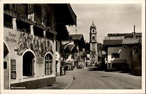 Mittenwald Bayern Postkarte ~1940 Straßenpartie an der Bozner Weinstuben Auto