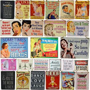 Large-20cm-Metal-Novelty-Retro-Vintage-Funny-Signs-Mum-Dad-Wine-Beer-Love-Home