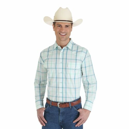 WRANGLER Wrinkle Resist Long Sleeve Green White Plaid Dress Shirt MWR165M NWT