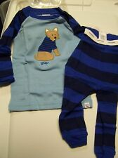 NWT BABY GAP BLUE DOG & STRIPE 2 PC long sleeve & pants PJS PAJAMAS 6-12 MO