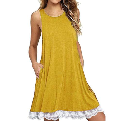 Women Ladies Summer Lace Casual Sleeveless Party Beach Loose Dress Sundress
