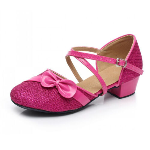 GIRLS KIDS CHILDRENS LOW HEEL PARTY WEDDING MARY JANE GLITTER SANDALS SHOES SIZE