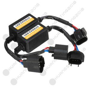 2X H13 9008 LED Headlight Kit Canbus Decoder Anti-Flicker Resistor Relay Adapter