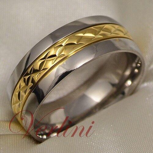 Titanium Ring 14k Gold Men/'s Wedding Band Infinity Bridal Jewelry Size 6-13