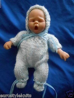 "Doll clothes Blue knitted set footed romper bonnet 11"" 12"" fit boy Truly Real"