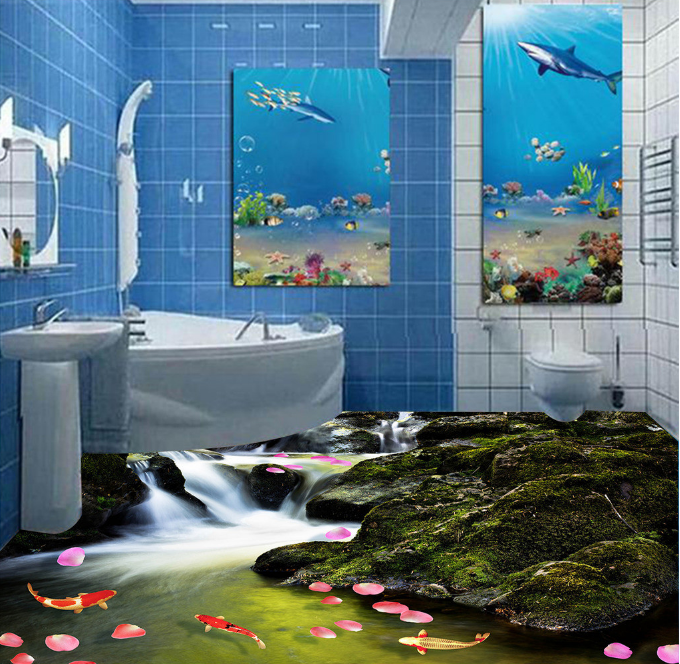 3D Stone Petal Fish 5 Floor WallPaper Murals Wall Print 5D AJ WALLPAPER UK Lemon